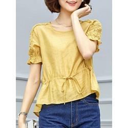 Berrylook Round Neck Patchwork Lace Short Sleeve Blouse shop, online sale, splice Blouses, black blouse, tops for women