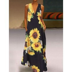 Berrylook V Neck Decorative Buttons Floral Printed Maxi Dress shoping, shop, long formal dresses, shirt dress found on MODAPINS from Berrylook for USD $25.95