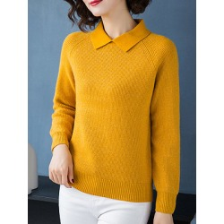 Berrylook Lapel Elegant Plain Long Sleeve Knit Pullover online shop, shop, cute sweaters, chunky sweater