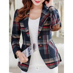 Berrylook Casual Elbow Patch Plaid Short Blazer cheap online stores, online, Grid Blazers, white blazer women, fitted blazer womens