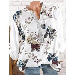 Berrylook V Neck Button Floral Printed Blouse online sale, sale, printing Blouses, red blouse, white blouses for women