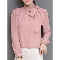 Berrylook Band Collar Plain Long Sleeve Blouse cheap online shopping sites, online, Solid Blouses, summer tops for women, silk blouse