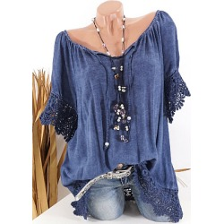 Berrylook Tie Collar Star Patchwork Lace Blouse online shop, online, splice Blouses, white blouses for women, going out tops