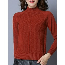 Berrylook Short High Collar Elegant Plain Long Sleeve Knit Pullover online shop, shop, long sweaters, knit sweater