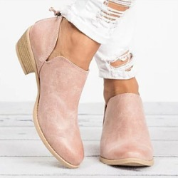 Berrylook Plain Chunky Low Heeled Point Toe Casual Ankle Boots clothing stores, clothes shopping near me,