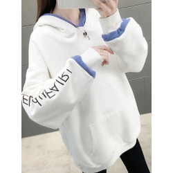 Berrylook Women's fashion embroidered loose hat long sleeve sweatershirt cheap online stores, sale, embroidery Hoodies, sweater hoodie, white sweatshirt found on Bargain Bro Philippines from Berrylook for $24.95