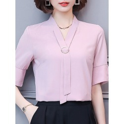 Berrylook V Neck Elegant Plain Short Sleeve Blouse shop, sale, splice Blouses, summer tops for women, silk blouse