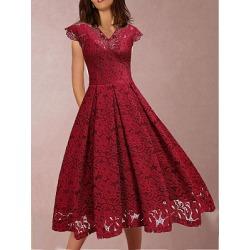 Berrylook V Neck Lace Skater Dress online sale, sale, Flared Skater Dresses, long sleeve skater dress, lace fit and flare dress