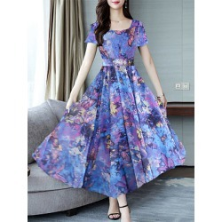 Berrylook Round Neck Print Maxi Dress stores and shops, fashion store, shirt dress, long formal dresses found on MODAPINS from Berrylook for USD $25.87