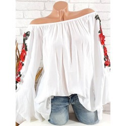 Berrylook Shoulder Collal Floral Embroidered Bell Sleeve Blouse online sale, sale, splice Blouses, white shirt womens, lace top