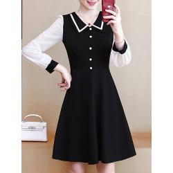 Berrylook V-Neck Color Block Shift Dress online, stores and shops, Color Shift Dresses, below the knee dresses, sheath dress