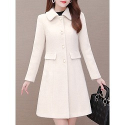Berrylook Fold-Over Collar Plain Coat online shop, clothing stores, womens down coats, womens winter parka found on Bargain Bro India from Berrylook for $28.95