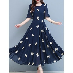 Berrylook Round Neck Chiffon Printed Oversized Maxi Dress online sale, shoping, shirt dress, long formal dresses found on MODAPINS from Berrylook for USD $28.95