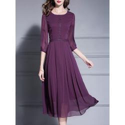 Berrylook Round Neck Plain Maxi Dress shop, online shop, Solid Maxi Dresses, sheath dress, floral dresses