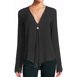 Berrylook V Neck Patchwork Brief Plain Long Sleeve Blouse online sale, sale, work blouses, white shirt womens