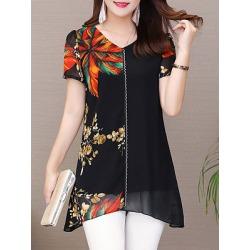 Berrylook V Neck Elegant Printed Short Sleeve Blouse online sale, sale, printing Blouses, white top, ruffle blouse