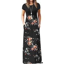 Berrylook Round Neck Patch Pocket Floral Printed Maxi Dress online sale, sale, Fitted Maxi Dresses, empire waist dress, vintage dresses