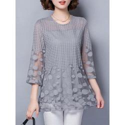 Autumn Spring  Cotton  Women  Round Neck  See-Through  Fake Two-Piece  Polka Dot  Kimono Sleeve  Three-Quarter Sleeve Blouses