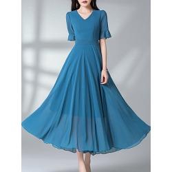 Berrylook V-Neck Plain Maxi Dress online shop, sale, Solid Maxi Dresses, sheath dress, homecoming dresses