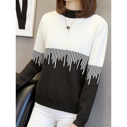 Berrylook Round Neck Patchwork Long Sleeve Knit Pullover stores and shops, fashion store, splice Pullover, turtleneck sweater, long cardigans for women