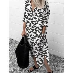 Berrylook Leopard Print Long Sleeve Shift Dresses Dress online, online sale, semi formal dresses, shirt dress found on MODAPINS from Berrylook for USD $23.95