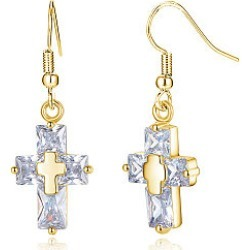 Alloy Chain Cross Pendant Earrings
