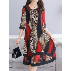 Berrylook Abstract Printed Early Autumn Loose Dress Shift Dress clothes shopping near me, sale, long white dress, womens linen clothing