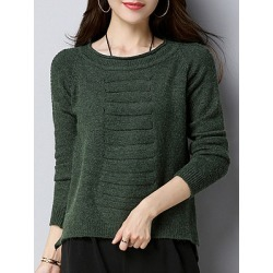 Berrylook Round Neck Cute Plain Long Sleeve Knit Pullover online sale, shop, long sweaters, long cardigan sweater