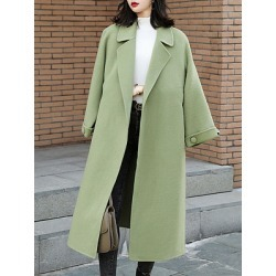 Berrylook Green long over clothing slim Coat stores and shops, online shop, Long Coats, red leather jacket womens, long jackets for women