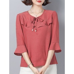 Berrylook Round Neck Plain Three-quarter Sleeve Blouse online sale, sale, Solid Blouses, peasant blouse, silk blouse