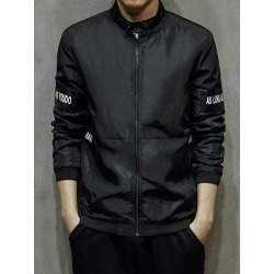 Berrylook Band Collar Pocket Letters Patch Men Jacket clothing stores, clothes shopping near me,