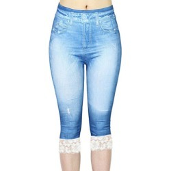 Berrylook Fashion lace stitching denim leggings clothing stores, fashion store, best leggings, high waisted leggings