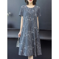 Berrylook Round Neck Printed Shift Dress cheap online stores, online sale, printing Shift Dresses, below the knee dresses, long red dress
