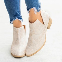 Berrylook Women Pointed Toe Mid Heel Short Boots stores and shops, online sale, Solid Ankle Boots,