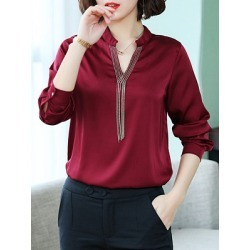 Berrylook Women's V-neck Long Sleeve Blouse cheap online stores, clothes shopping near me, Long Blouses, red top, blouses for women