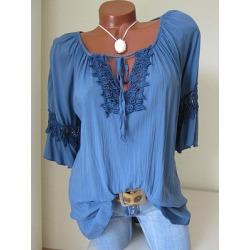Berrylook V Neck Lace Up Lace Blouses online, fashion store, peasant blouse, blouses for women