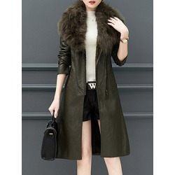Berrylook Faux Fur Collar Plain Coat clothing stores, cheap online shopping sites, ladies jacket, womens winter jackets canada