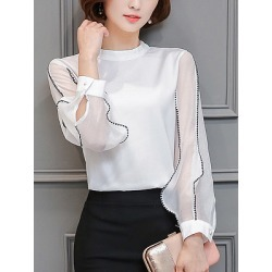 Berrylook Chic Band Collar Contrast Stitching Hollow Out Blouse clothing stores, online, black blouse, one shoulder tops found on Bargain Bro India from Berrylook for $23.95