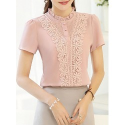 Berrylook Band Collar Patchwork Lace Short Sleeve Blouse online sale, shoping, white blouses for women, button up shirts for women