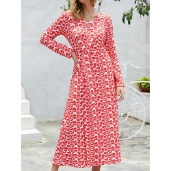 Berrylook V-neck Print Slit Long Sleeve Dress online shopping sites, shop, white skater dress, lace fit and flare dress found on Bargain Bro Philippines from Berrylook for $21.95