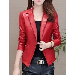 Berrylook Stylish Lapel Collar Slim Leather Jacket online shop, sale, Solid Jackets, mens coats sale, warm jackets for women