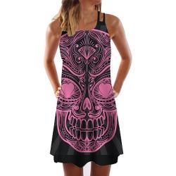 Berrylook Spaghetti Strap Printed Shift Dress sale, online sale, printing Shift Dresses, below the knee dresses, white linen dress