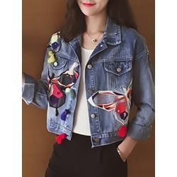 Berrylook Single-breasted butterfly-embroidered denim jacket cheap online stores, sale, printing Jackets, cute winter coats, black jacket womens