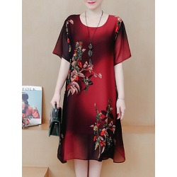 Berrylook Round Neck Printed Shift Dress shop, sale, printing Shift Dresses, shirt dress, semi formal dresses found on MODAPINS from Berrylook for USD $15.95
