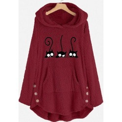 Berrylook Cat embroidery top loose wool hooded sweater shoping, online shop, found on Bargain Bro India from Berrylook for $23.95
