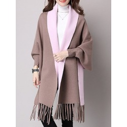 Fringe Color Block Long Sleeve Coats