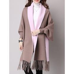 Berrylook Fringe Color Block Long Sleeve Coats online sale, sale, womens hooded jacket, leather jackets for women
