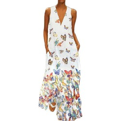 Berrylook Butterfly Print Sleeveless Dress stores and shops, shoppers stop, shirt dress, semi formal dresses found on MODAPINS from Berrylook for USD $23.95