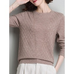 Berrylook Round Neck Patchwork Elegant Plain Long Sleeve Knit Pullover online sale, shop, Solid Pullover, knit sweater, cardigan