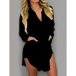 Berrylook Turn Down Collar Patch Pocket Plain Shift Dress sale, cheap online shopping sites, white linen dress, womens linen clothing